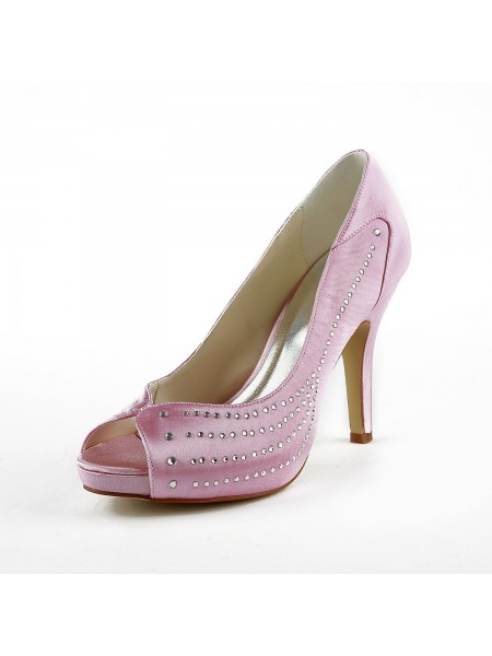 78f0d3bdb4216b SheenOut Satin Stiletto Heel Peep Toe Platform Pink Wedding Shoes With  Rhinestone S137035