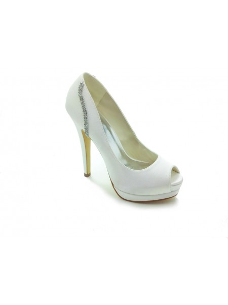 83e3c82bccabe0 SheenOut Satin Stiletto Heel Peep Toe Platform White Wedding Shoes With  Rhinestone S14099