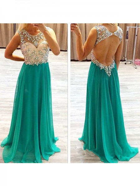 A-Line/Princess Hunter Green Chiffon Sweep/Brush Train Dresses with Beading