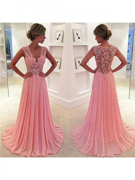 A-Line/Princess Pink Chiffon Sweep/Brush Train Dresses with Lace