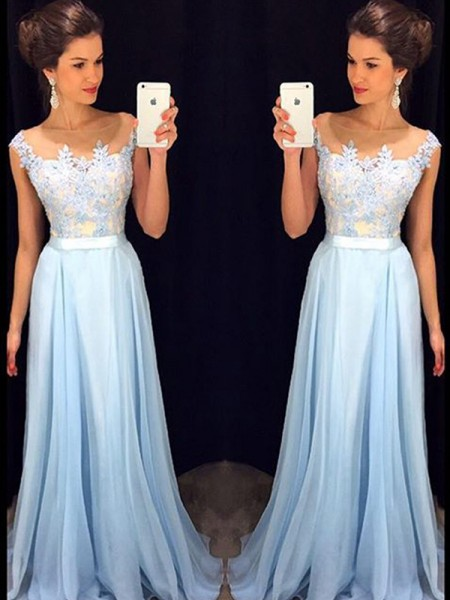 A-Line/Princess Blue Chiffon Sweep/Brush Train Dresses with Applique