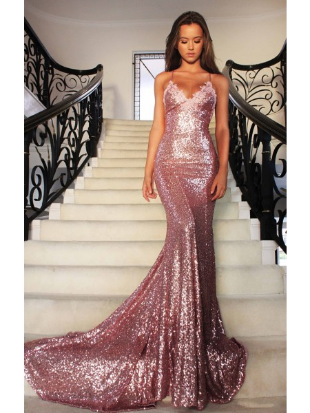 Trumpet/Mermaid Sequin V-neck Sleeveless Sweep/Brush Train Ruffles Dresses