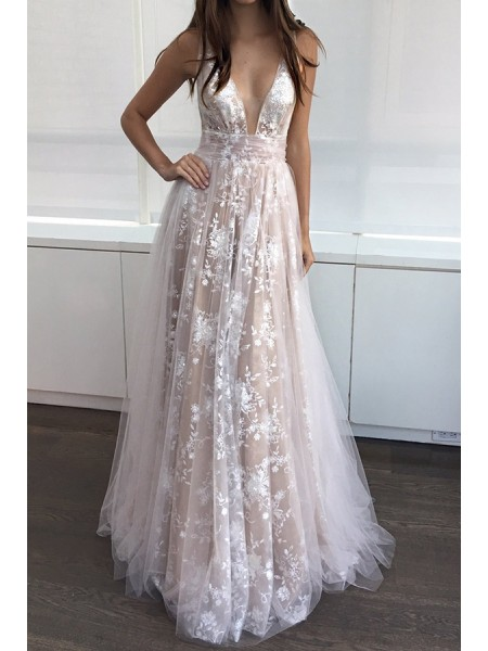 A-Line/Princess V-neck Tulle Sleeveless Applique Floor-Length Dresses