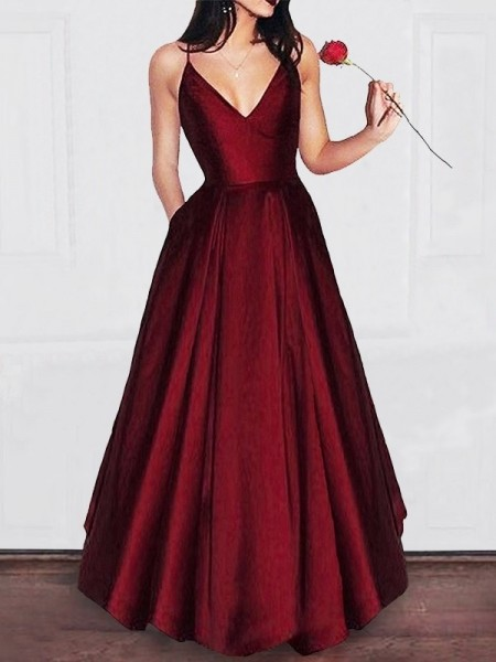 A-Line/Princess V-neck Floor-Length Satin Sleeveless Ruffles Dresses