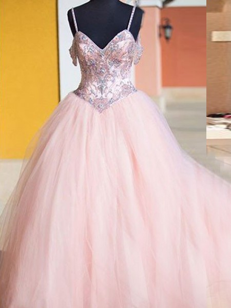Ball Gown Pink Tulle Floor-Length Dresses with Crystal