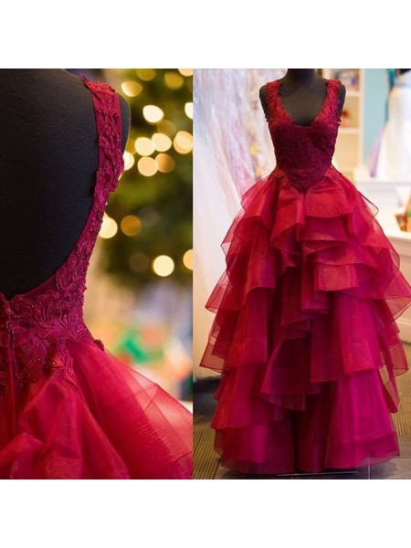 Ball Gown Red Tulle Floor-Length Dresses with Applique