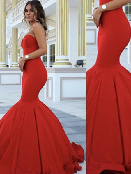 Trumpet/Mermaid Red Satin Floor-Length Dresses