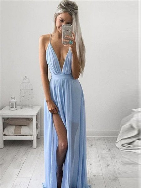A-Line/Princess Light Sky Blue Chiffon Floor-Length Dresses with Ruched