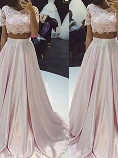 A-Line/Princess Pink Taffeta Floor-Length Dresses with Lace