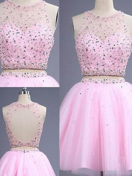A-Line/Princess Pink Tulle Short/Mini Dresses with Beading
