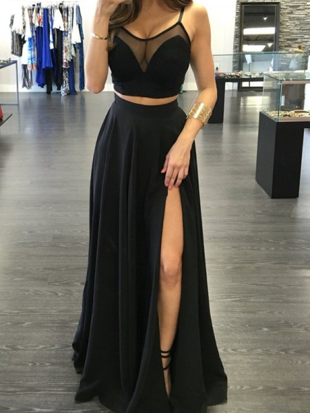 A-Line/Princess Black Chiffon Floor-Length Dresses