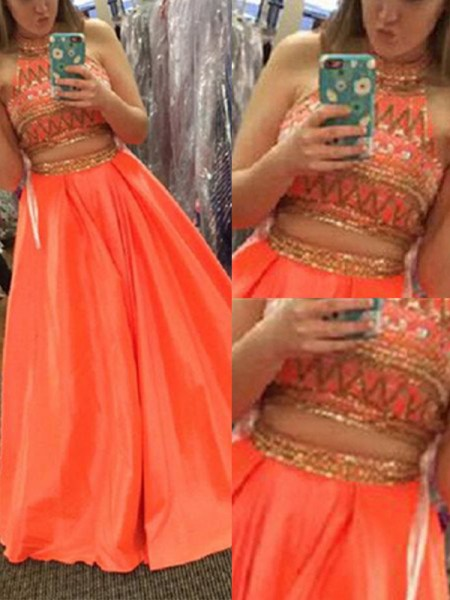 A-Line/Princess Orange Satin Floor-Length Dresses with Beading