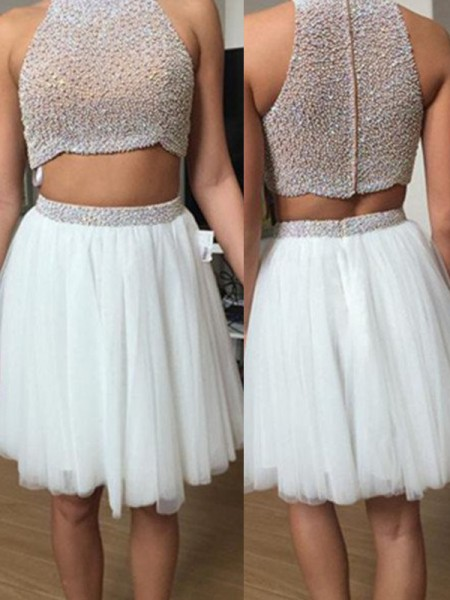 A-Line/Princess White Tulle Short/Mini Dresses with Beading