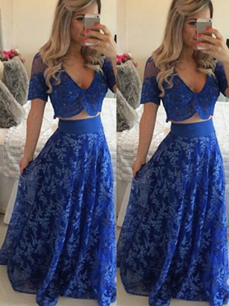 A-Line/Princess Royal Blue Lace Floor-Length Dresses