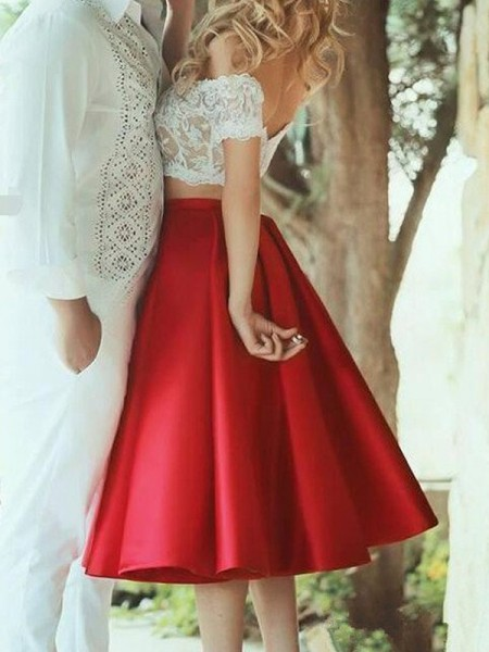 A-Line/Princess Red Satin Knee-Length Dresses with Lace