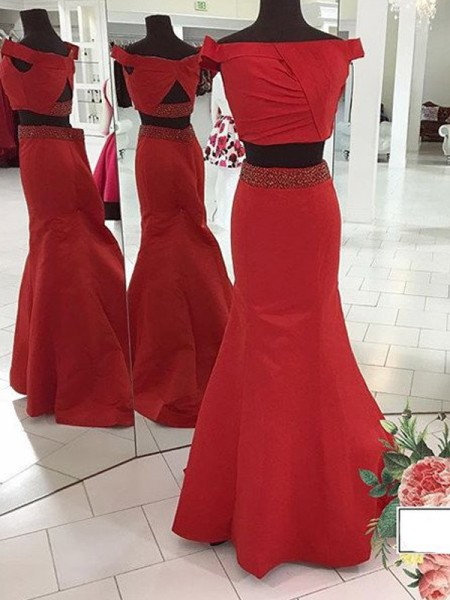 Trumpet/Mermaid Red Satin Sweep/Brush Train Dresses with Ruched