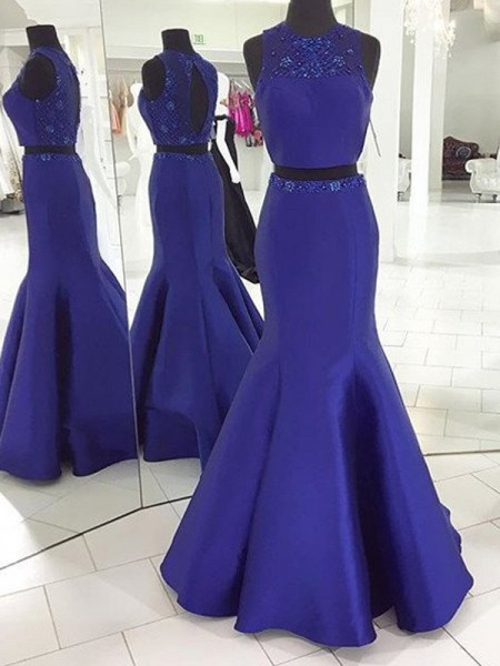 Trumpet/Mermaid Royal Blue Satin Floor-Length Dresses with Beading