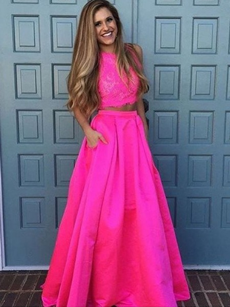 A-Line/Princess Fuchsia Satin Floor-Length Dresses with Lace