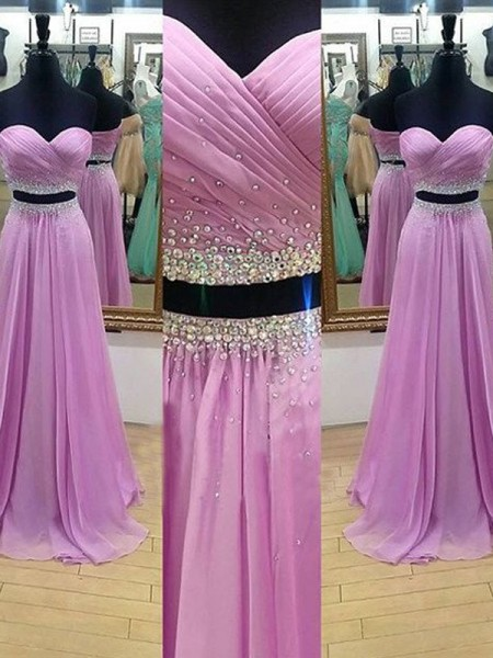 A-Line/Princess Lilac Chiffon Floor-Length Dresses with Beading