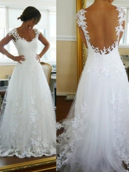 A-Line/Princess Ivory Tulle Sweep/Brush Train Wedding Dresses with Lace