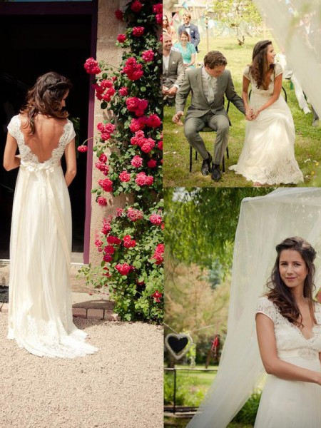 A-Line/Princess Ivory Tulle Sweep/Brush Train Wedding Dresses with Other
