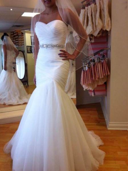 Trumpet/Mermaid White Tulle Floor-Length Wedding Dresses with Beading
