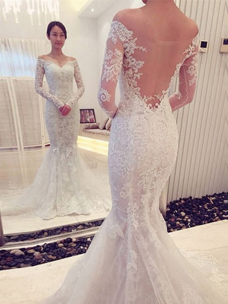 Trumpet/Mermaid White Lace Sweep/Brush Train Wedding Dresses