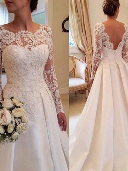 Ball Gown White Satin Court Train Wedding Dresses with Lace