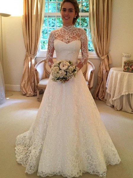 Ball Gown White Lace Court Train Wedding Dresses with Lace