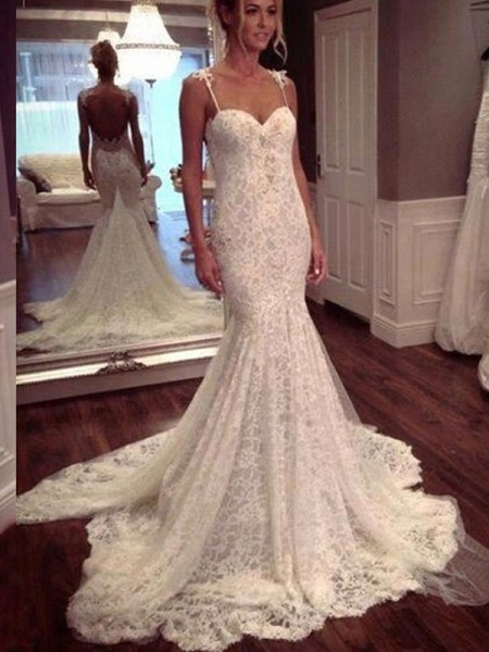 Trumpet/Mermaid White Lace Court Train Wedding Dresses with Lace