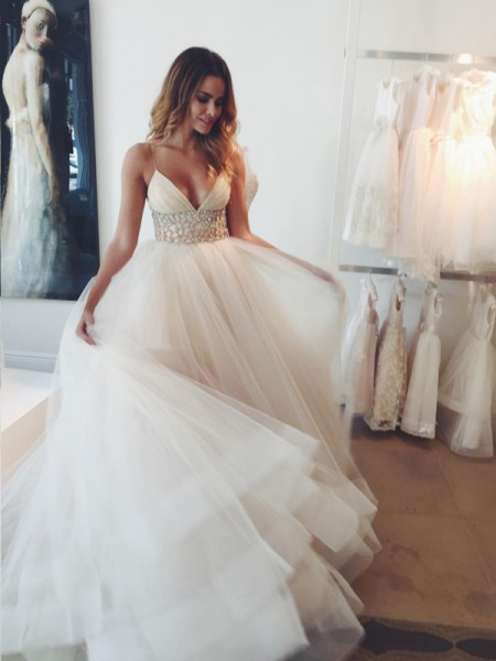 Ball Gown White Tulle Court Train Wedding Dresses with Crystal
