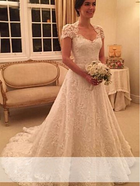 A-Line/Princess White Lace Court Train Wedding Dresses with Lace