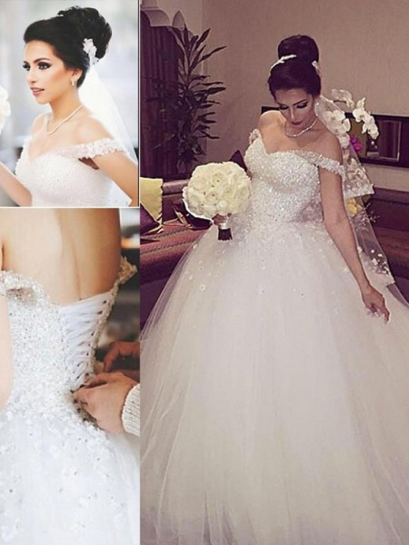 Ball Gown White Tulle Court Train Wedding Dresses with Lace