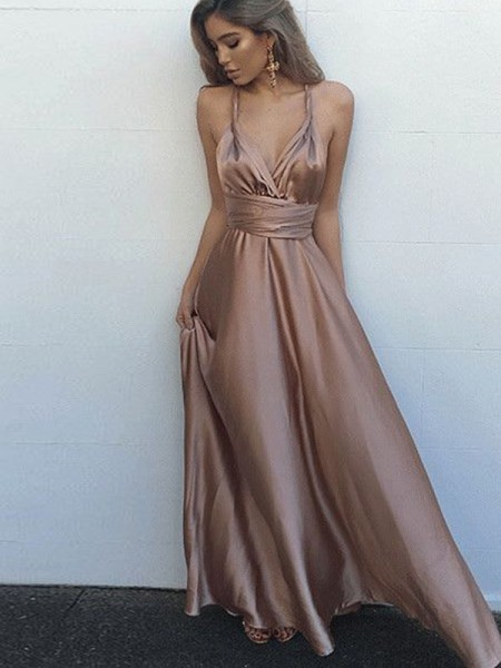A-Line/Princess Brown Satin Floor-Length Dresses with Sash/Ribbon/Belt