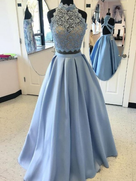 Ball Gown Light Sky Blue Satin Floor-Length Dresses with Applique