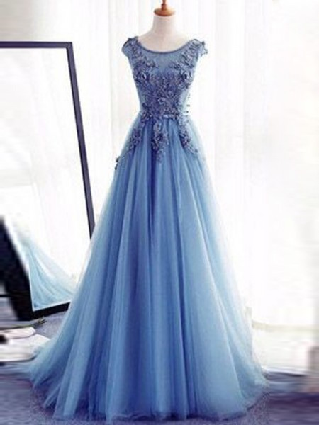 Ball Gown Light Sky Blue Tulle Floor-Length Dresses with Applique