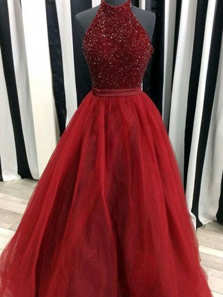 Ball Gown Red Organza Floor-Length Dresses with Beading
