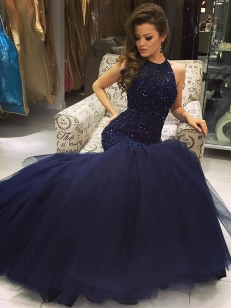 Trumpet/Mermaid Dark Navy Tulle Floor-Length Dresses with Beading