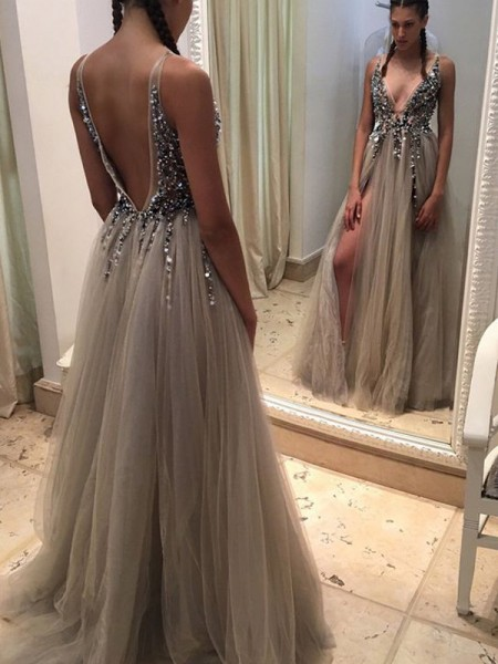 A-Line/Princess Champagne Tulle Floor-Length Dresses with Paillette