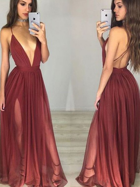 A-Line/Princess Burgundy Chiffon Floor-Length Dresses with Ruched
