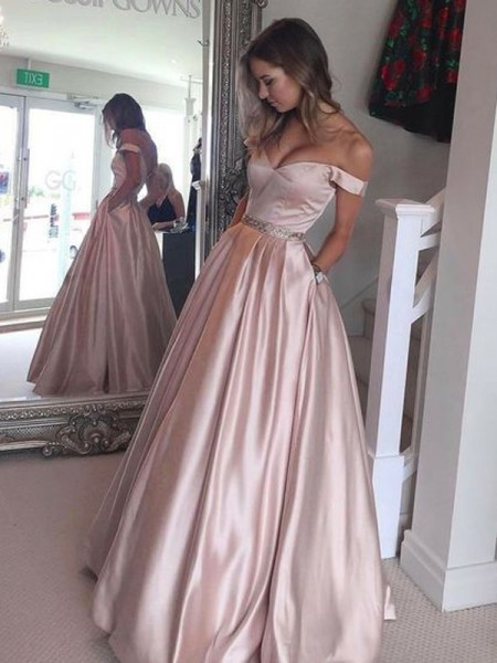A-Line/Princess Pink Satin Sweep/Brush Train Dresses with Other