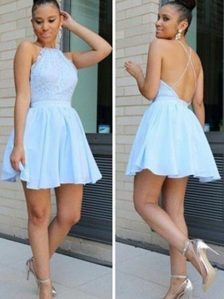 A-Line/Princess Light Sky Blue Chiffon Short/Mini Homecoming Dresses with Lace