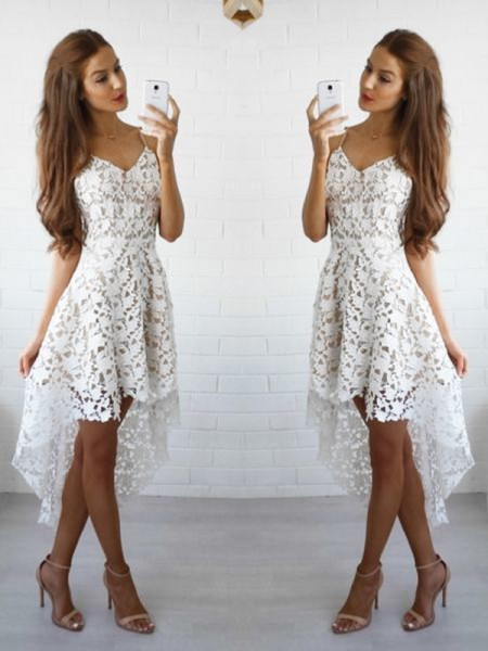 A-Line/Princess White Lace Short/Mini Homecoming Dresses
