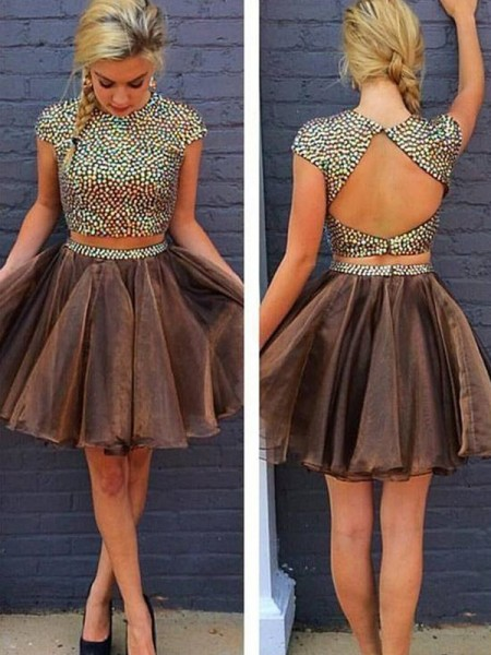 A-Line/Princess Brown Organza Short/Mini Homecoming Dresses with Beading