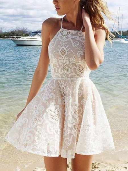 A-Line/Princess Champagne Short/Mini Homecoming Dresses with Lace
