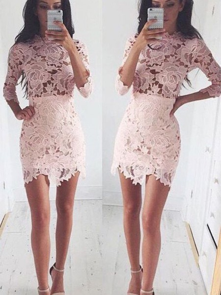 A-Line/Princess Pink Lace Short/Mini Homecoming Dresses