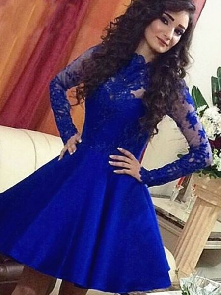 A-Line/Princess Royal Blue Satin Short/Mini Homecoming Dresses with Lace