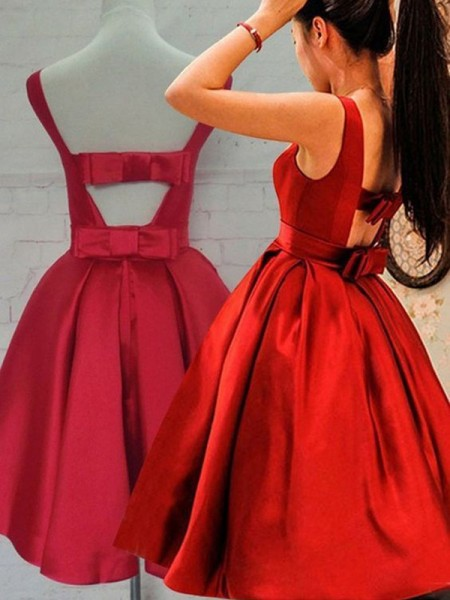 A-Line/Princess Red Satin Short/Mini Homecoming Dresses with Sash/Ribbon/Belt