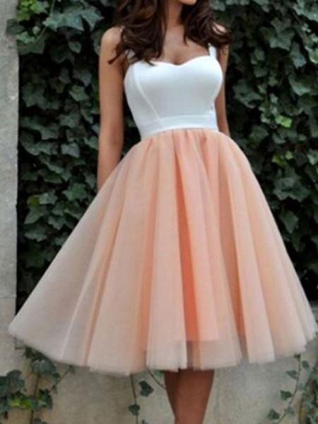 A-Line/Princess Pink Tulle Short/Mini Homecoming Dresses