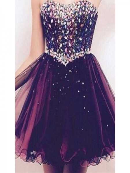 A-Line/Princess Grape Tulle Short/Mini Homecoming Dresses with Rhinestone